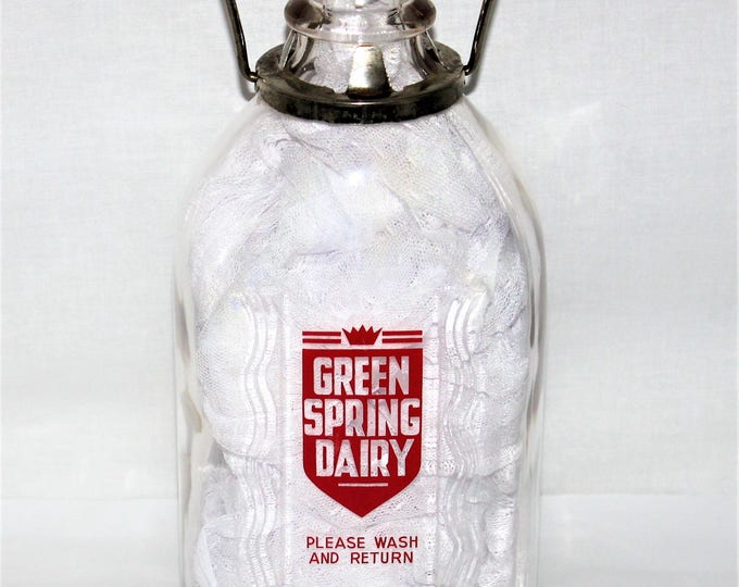 Vintage Two Quart Green Spring Dairy Glass Milk Bottle with Metal Handle