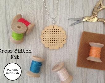 Cross Stitch Kit // Flower Pendant // Make Your Own // DIY // Gift // Craft Kit