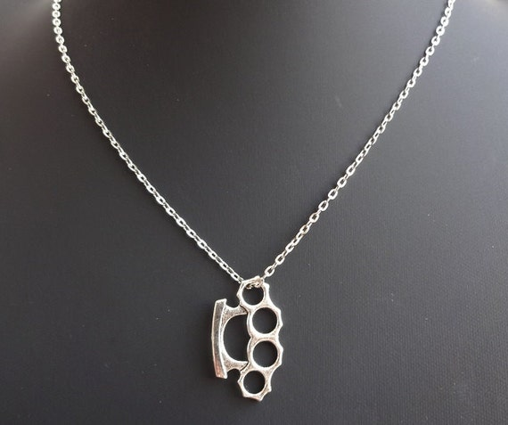 Knuckle duster necklace brass knuckles leather necklace like this item mozeypictures Choice Image