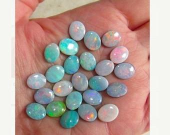 SALE AAA Australian Opal 8mm x 10mm Cabochon,  Intense Color Play Red Blue Green Australian Opal Triplet