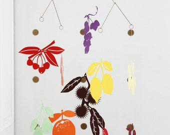 """Mobile for baby """"the fruits"""" paper, brass and linen thread"""