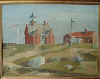 Block Island Southeast Lighthouse Original OIl Painting by CSAndrews III