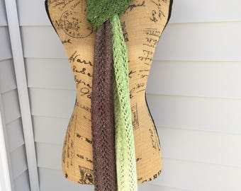 Knit Scarf, Knit Lace Scarf, Hand Knit, Lace Scarf, Gradient Color, Handmade Gifts, Gifts for her,