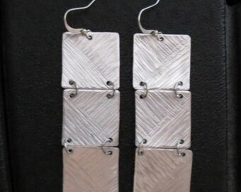 Triptych pierced earrings handmade aluminum