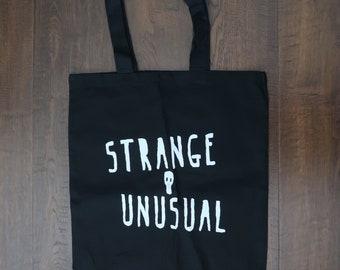 Strange and Unusual Black Canvas Tote Bag Skull Lydia Deetz Beetlejuice