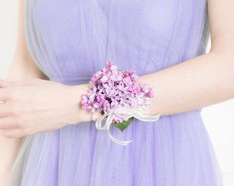 Wrist Corsage - Lilac Corsage, Purple Corsage, Silk Flower Corsage - Wedding Corsage - Custom Options