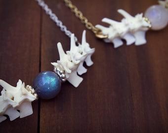 Witchy Stocking Stuffer, Witchy, Memento Mori Necklace, Dark Mori, Witchy Necklace, Moonstone, Labradorite, Bone