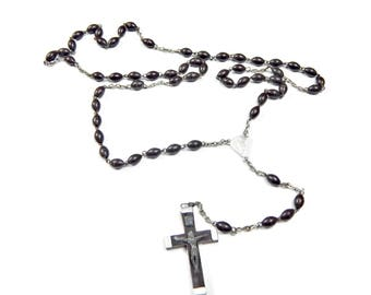 Dark Brown Rosary Beads with Crucifix Catholic Hallmarked Italy