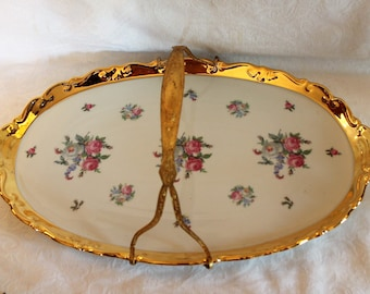 """Ansbach Bavaria Porcelain 17"""" Serving Platter with Gold Rim and Pink Roses in Excellent Condition with Heavy Gold Handle"""