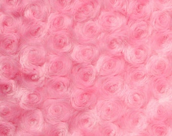 Ruth PINK Cuddle Minky Rosette Soft Faux Fur Fabric by the Yard - 10083