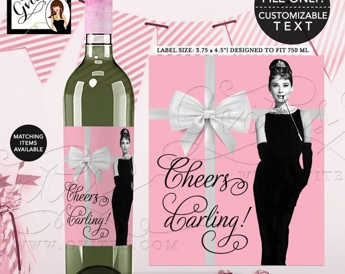 "Audrey Hepburn Party Wine Labels, Cheers Darling! Breakfast Pink Wine Bottle Label. Customizable Pic/Text 3.75x4.5""/4 Per Sheet"