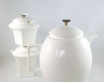 MId Century Unmarked White and Chrome Modernist TeaPot and Cream and Sugar Set