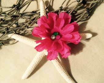 Mermaid, Hawaiian, Beach, Tropical Starfish with hot pink flower hair clip
