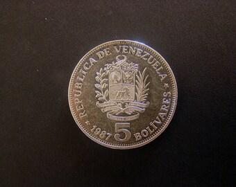 Venezuela, 5 Bolivares, 1987