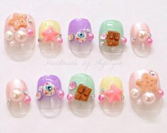 Harajuku nail, kawaii nail, deco nail, 3D nail, Japanese nail, pastel, eyeballs, stars, pearls, acrylic nail, dope, pop kei, fairy kei,
