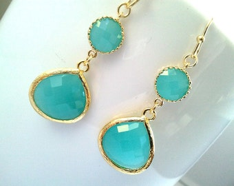 Turquoise Mint Gold Drop Earrings, Bridesmaid Gift Wedding Jewelry Bridesmaid Jewelry ,Mint Earrings, Blue Earrings, Turquoise Earrings