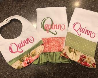 Bib & Burp Cloths for Girls-Set of 3, monogrammed burp cloths, burp cloths with ruffle, personalized baby gift