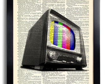 Vintage Television TV Color Bars Art Print Vintage Book Print Recycled Vintage Dictionary Page Collage Repurposed Book Upcycled 223