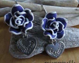Fancy Fleur polymer clay and heart charm earring
