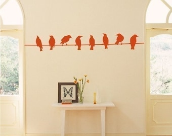 Birds on Wire Wall Decal - Vinyl Wall Stickers Art Custom Home Decor
