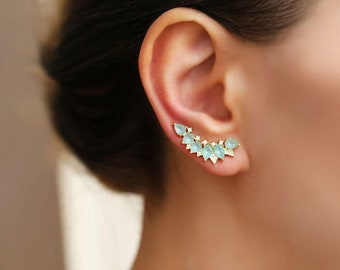 Turquoise earrings bridesmaid jewelry ear crawlers ear climbers Ear crawler earrings ear jacket wedding jewelry turquoise jewelry