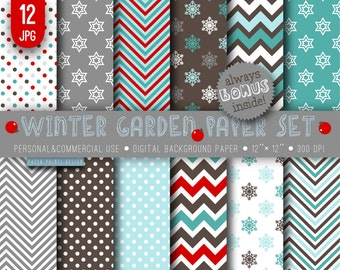12 x 12 Christmas Winter Digital Paper, 12 x 12 print, brown blue red white paper, winter Christmas party invitations snowflakes chevron