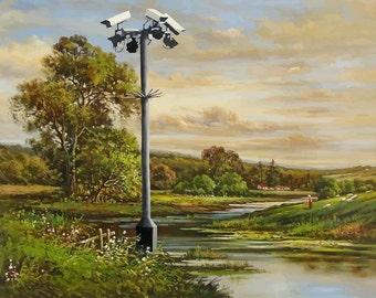 BANKSY Canvas CCTV Landscape Banksy Graffiti Art Print Gallery Wrapped