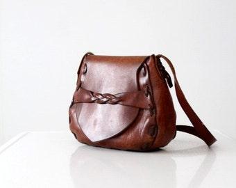 vintage 60s leather shoulder bag, hand-crafted hippie purse