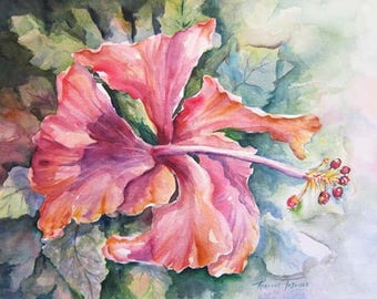 Hibiscus Original Watercolor 15 x 22 Fine Art by Roxanne Tobaison