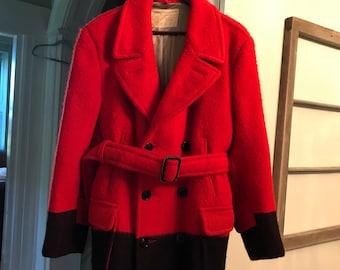 Vintage Hudson's Bay Trapper Point Red/Black Blanket Belted Coat