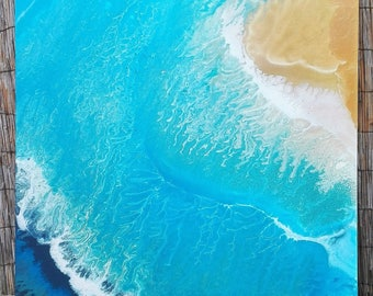 Painting abstract, contemporary, island, sea, blue, sand, wave