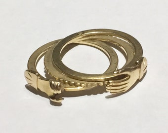 Victorian Fede Gimmel 14k 14Ct Yellow Gold  Wedding Clasped hands betrothal Engagement Ring