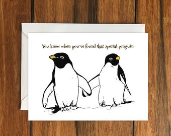 You know when you've found that special penguin blank card and envelope, A6, Romance, Animals, Love, Friendship, Cute, Adorable, Birds