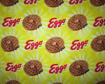Eggo Waffle Breakfast Food Yellow Cotton Fabric Fat Quarter or Custom Listing