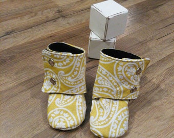 Stay on Yellow Baby Booties