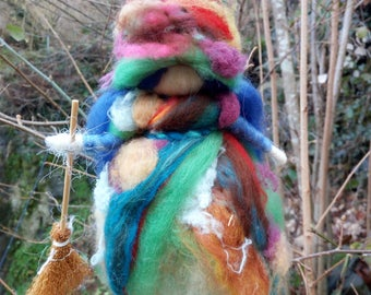 Magic Fairy/Witch in carded wool. Needle felt.Protector of the house and kids.Suitable as a gift