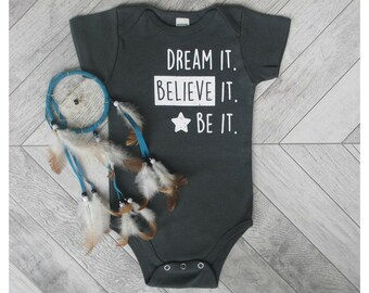 DREAM! Organic Baby Clothes, Baby Bodysuit , Unique Baby Outfit, Cute Onesie, Organic One Piece, Baby Clothes, Gender Neutral Baby Gift