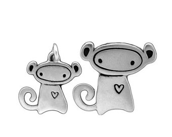 Mother Daughter Monkey Necklace Set - Silver Monkey Pendants