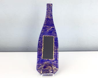Imperfect Chalkboard Cobalt Blue Glass Melted Wine Bottle Cheese Tray with Animal Print, Wall Hanging, Spoon Rest