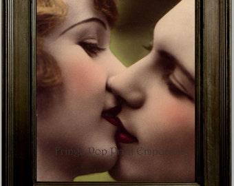 Flapper Lesbian Art Print 8 x 10 - Art Deco - Jazz Age - 1920's - Women Kissing - LGBT