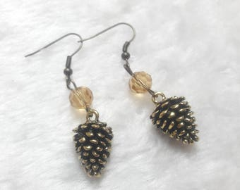Taupe earrings pinecones