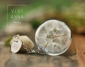 Wishing something chain - silver necklace with Real Dandelion Seeds in glass and WISH charm  K396