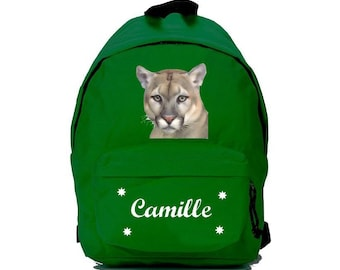 Cougar green backpack personalized with name