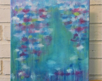 """Abstract Rainy Sunset on Ocean Acrylic Painting on Stretched Canvas 12""""x16"""""""