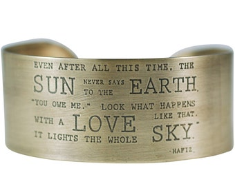 Hafiz quote Cuff, Brass or Silver
