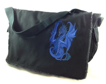 Dragon embroidery by Ruth Thompson shines on canvas messenger bag