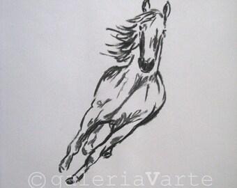original charcoal drawing  -  horse - europeanstreetteam