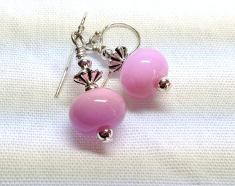 Pink Art Glass Sterling Silver Earrings