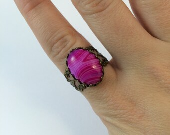 Pink Banded Agate Ring - Antique Brass - Adjustable