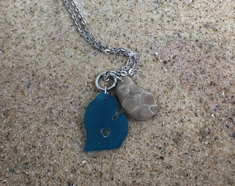 Petoskey stone necklace, rustic jewelry, Petoskey stone, Michigan jewelry, beach stone jewelry, handmade jewelry, gift for her, beach glass